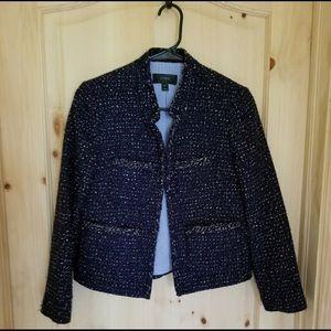 JCrew tweed blazer in navy blue & silver
